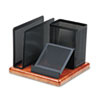 Rolodex Distinctions Desk Organizer, Metal/Wood, 5 7/8 x 5 7/8 x 4 1/2, Black/Cherry