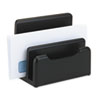 Rolodex Wood Tones Desktop Sorter, Three Sections, Wood, Black