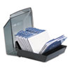 Covered Tray Business Card File Holds 100 2 5/8 x 4 Cards, Black/Smoke