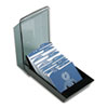 Covered Tray Business Card File Holds 200 2 5/8 x 4 Cards, Black/Smoke