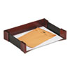 Letter Tray, Leather/Wood, Mahogany