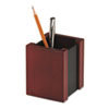 Wood and Faux Leather Pencil Cup, 3 7/16 x 3 1/2 x 4 1/8, Black/Mahogany