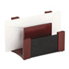 Desktop Sorter, Wood/Faux Leather, 7 1/8 x 6 11/16 x 4 1/8, Black/Mahogany