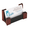 Wood/Leather Business Card Holder, Capacity 50 2 1/4 x 4 Cards, Black/Mahogany