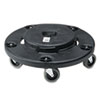 Rubbermaid Commercial Brute Round Twist On/Off Dolly, 250 lb Capacity, 18dia x 6 5/8h, Black