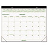 AT-A-GLANCE Recycled Two-Color Desk Pad Calendar, Green and Brown, 22