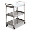 Rubbermaid Commercial Economy Plastic Cart, Three-Shelf, 18-5/8w x 33-5/8d x 37-3/4h, Platinum