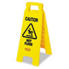 """Caution Wet Floor"" Floor Sign, Plastic, 11 x 1 1/2 x 26, Bright Yellow"