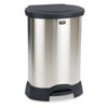 Step-On Container, Oval, Stainless Steel, 30 gal, Black