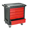 Rubbermaid Commercial Five-Drawer Mobile Workcenter, 32 1/2w x 20d x 33 1/2h, Black Plastic Top