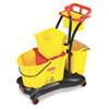 Rubbermaid Commercial WaveBrake 35-Quart Mopping Trolley Side Press, Yellow