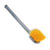 Long Handle Scrub, 20 Long Plastic Handle, Gray Handle w/Yellow Bristles