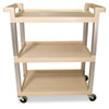 Service Cart w/Brushed Aluminum Upright, 3-Shelf, 16-1/4w x 31-1/2d x 36h, Beige