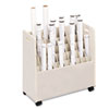 Laminate Mobile Roll Files, 50 Compartments, 30-1/8w x 15-3/4d x 29-1/4h, Putty
