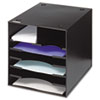 Safco Steel Desktop Sorter, Seven Compartments, Steel, 12 x 12 x 11, Black