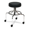 Safco Screw Lift Stool w/High Base, Height-Adjustable, 25-33h, Chrome/Black