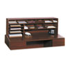 Safco Wood Desktop Organizer, Double Shelf, Three Sections, 57 1/2 x 12 x 18, Cherry
