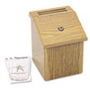 Wood Suggestion Box, Latch Lid Key Lock, 7 3/4 x 7 1/2 x 9 3/4, Oak