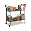 Wire Book Cart, Steel, 4 Shelves, 43-3/4w x 19-1/4d x 40-1/2h, Black