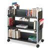 Scoot Book Cart, 6-Shelf, 40w x 17-1/2d x 41-1/2h, Black