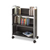 Scoot Book Cart, 3-Shelf, 32-1/2w x 14-1/4d x 44-1/4h, Black