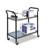 Wire Utility Cart, 2-Shelf, 43-3/4w x 19-1/4d x 40-1/2h, Black