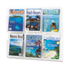 Reveal Clear Literature Displays, 6 Compartments, 30w x 2d x 24-5/8h, Clear