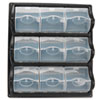 Polypropylene Panel Storage w/9 Bins, 18 3/8 x 5 1/4 x 20 1/2, Black