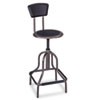 Diesel Industrial Stool w/Back, High Base, Black Leather Seat/Back Pad