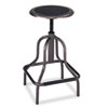 Diesel Backless Industrial Stool, High Base, Black Leather Seat