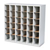 Wood Mail Sorter with Adjustable Dividers, Stackable, 36 Compartments, Gray