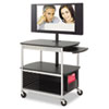 Scoot Flat Panel Multimedia Cart, 3-Shelf, 39-1/2w x 27d x 38-1/4h, Black
