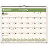 AT-A-GLANCE Recycled Wall Calendar, Green, 15