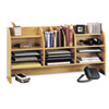 Safco Radius Front Organizer, 16 Sections, 47 1/2 x 9 5/8 x 23 3/4, Medium Oak