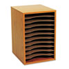 Wood Vertical Desktop Sorter, 11 Sections 10 5/8 x 11 7/8 x 16, Medium Oak