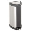 Step-On Waste Receptacle, Triangular, Stainless Steel, 4 gal, Chrome/Black