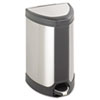 Step-On Waste Receptacle, Triangular, Stainless Steel, 7 gal, Chrome/Black