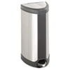 Step-On Waste Receptacle, Triangular, Stainless Steel, 10 gal, Chrome/Black