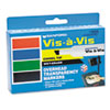 Vis-a-Vis Wet-Erase Marker, Chisel Point, Assorted, 4/Set