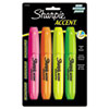 Accent Jumbo Highlighters, Chisel Tip, Fluorescent Green/Orange/Pink/Yellow,4/Pk