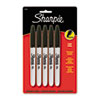 Permanent Markers, Fine Tip, Black, 5/Pack