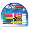 EXPO Low Odor Dry Erase Marker, Fine Point, Assorted, 12/Set