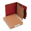 Pressboard 25-Pt. Classification Folder, Letter, Four-Section, Earth Red, 10/Box