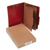 ACCO Presstex 20-Point Classification Folders, Legal, Six-Section, Red, 10/Box