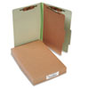 Pressboard 25-Pt. Classification Folders, Legal, 4-Section, Leaf Green, 10/Box
