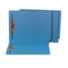 Water/Paper Cut-Resistant End Tab Folders, Two Fasteners, Letter, Blue, 50/Box