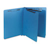 Six-Section End Tab Classification Folders, Pressboard, Letter, Blue, 25/Box