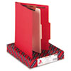 Top Tab Classification Folder, One Divider, Four-Section, Red, 10/Box
