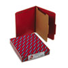 Pressboard Classification Folders, Letter, Four-Section, Bright Red, 10/Box