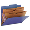 Smead Pressboard Classification Folders, 2 Pocket Dividers, Letter, Dark Blue, 10/Box